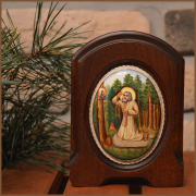 Икона из финифти Моление Серафима Саровского о чаше