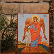 Рукописная икона Ангел Хранитель, ведущий за руку человека