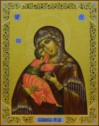 Рукописная икона Владимирская Божия Матерь с резьбой