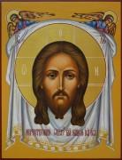 Рукописная икона Спас Нерукотворный с Ангелами