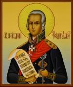Рукописная икона Феодор Ушаков с резьбой