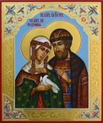 Рукописная икона Петр и Феврония с резьбой 22