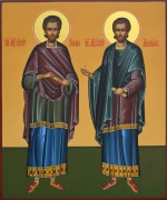 Рукописная икона Косма и Дамиан