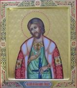 Рукописная икона Александр Невский с резьбой