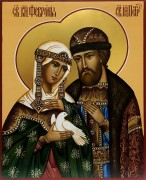 Рукописная икона Петр и Феврония с голубем