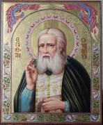 Рукописная икона Серафим Саровский масло и резьба