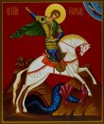 Рукописная икона Георгий Победоносец на коне