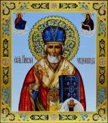Рукописная икона Николай Чудотворец 3