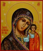 Рукописная Казанская икона Божией Матери живопись 3