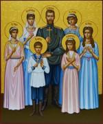 Рукописная икона Царская семья 2