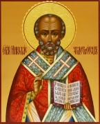 Рукописная икона Николай Чудотворец резьба 5