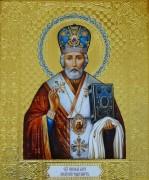 Рукописная икона Николай Чудотворец в киоте 6