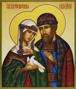 Рукописная икона Петр и Феврония с голубем 42