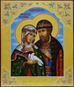Рукописная икона Петр и Феврония с голубем 43