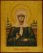 Рукописная икона Матрона под старину