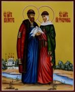 Рукописная икона Петр и Феврония с голубями 28