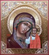 Рукописная Казанская икона с резьбой 5