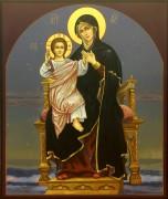 Рукописная икона Пресвятая Богородица на престоле