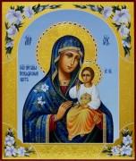 Рукописная икона Неувядаемый Цвет с лилиями 16