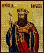 Рукописная икона Константин равноапостольный 3 (Размер 17*21 см)