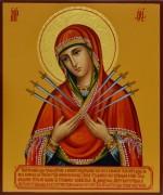 Рукописная икона Божией Матери Семистрельная 5