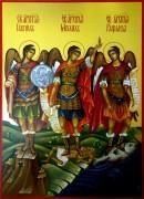 Рукописная икона Архангел Михаил, Гавриил и Рафаил