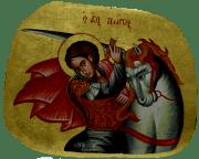 Греческая рукописная икона Георгий Победоносец