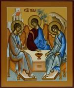 Рукописная икона Святая Троица Рублева под старину 2