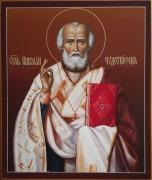 Рукописная икона Николай Чудотворец живопись 11