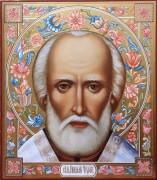 Рукописная икона Николай Чудотворец 12