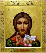 Рукописная икона Спас Вседержитель с резьбой 15