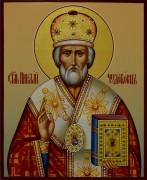 Рукописная икона Николай Чудотворец 16