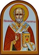 Рукописная икона Николай Чудотворец арка 19