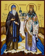 Рукописная икона Лаврентий и Феодосий Черниговские