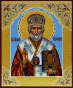 Рукописная икона Николай Чудотворец с резьбой 22