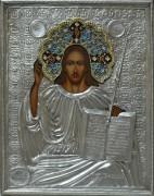 Рукописная икона Господь Вседержитель с серебряным окладом под старину