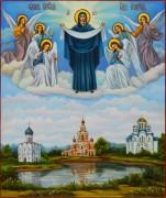 Рукописная икона Покров Пресвятой Богородицы маслом 9