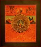 Рукописная икона Духовный Лабиринт