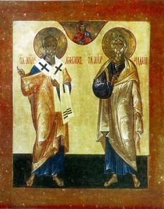 Рукописная икона Апостол Аристарх и Андрей Первозванный