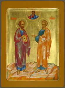 Рукописная икона Апостолы Петр и Павел