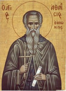 Рукописная икона Афанасий Афонский