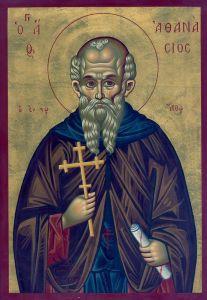 Рукописная икона Святой Афанасий Афонский