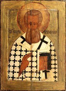 Рукописная икона Афанасий Великий