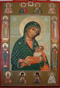 Рукописная икона Барловская икона Божией Матери Блаженное Чрево