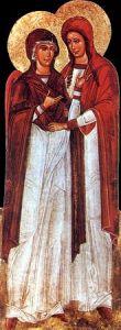 Рукописная икона Богоматерь и Мария Магдалина
