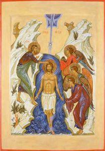 Рукописная икона Богоявление