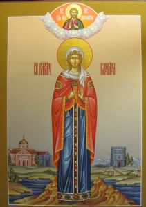 Рукописная икона Варвара Великомученица