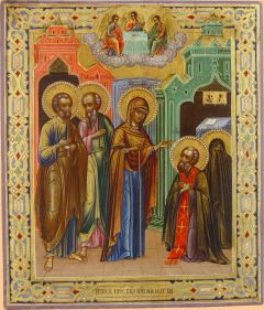 Рукописная икона Видение (Явление) Богоматери Сергию Радонежскому