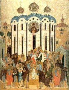 Рукописная икона Видение Евлогия