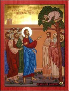 Рукописная икона Встреча Иисуса Христа и Закхея